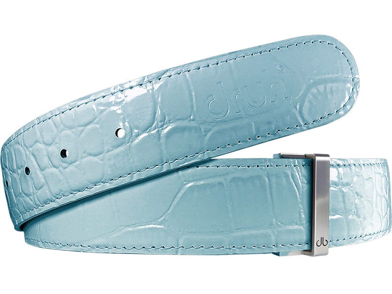 Aqua Crocodile Textured Leather Belt