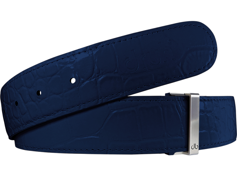 Blue Crocodile Textured Leather Belt