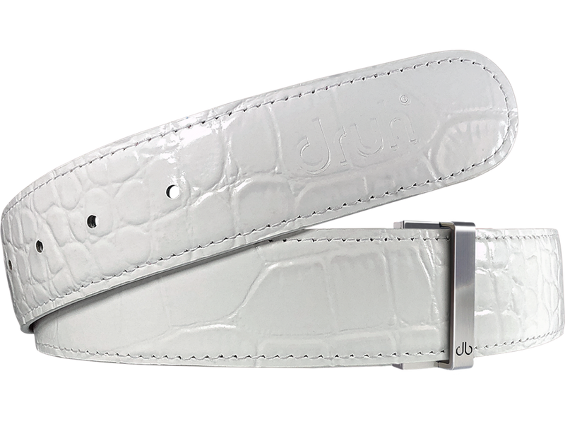 White Crocodile Texture Leather Belt