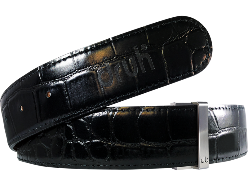 Black Crocodile Textured Leather Belt