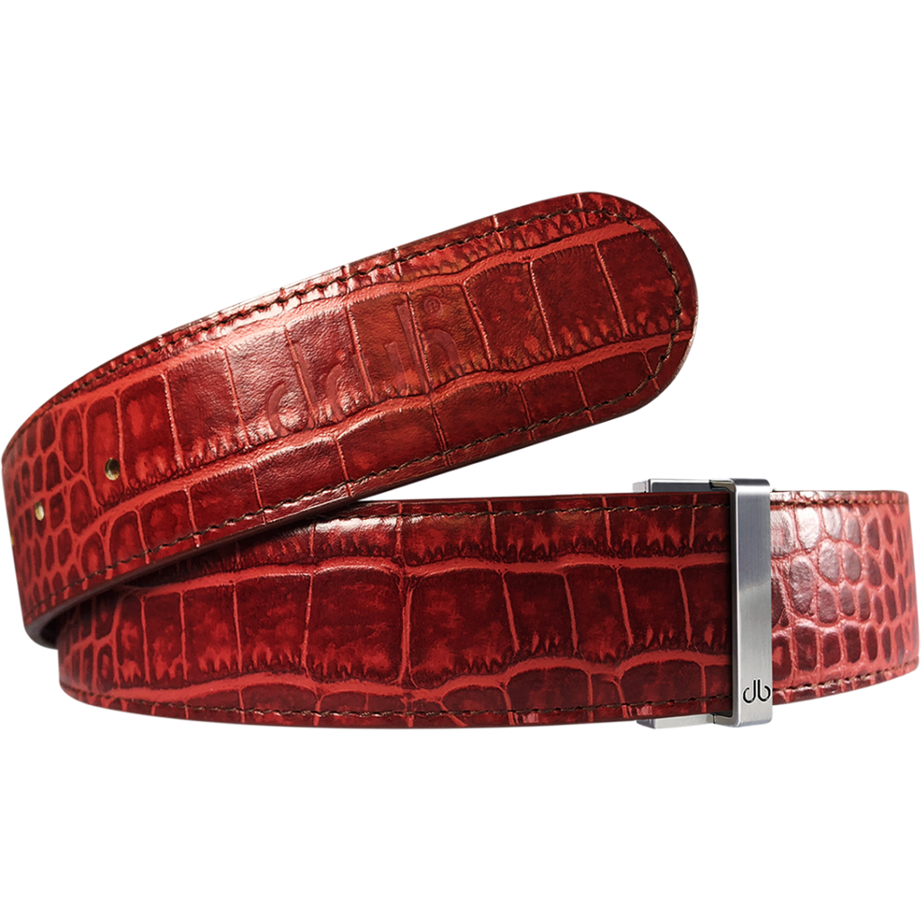 Burgundy Crocodile Textured Leather Belt