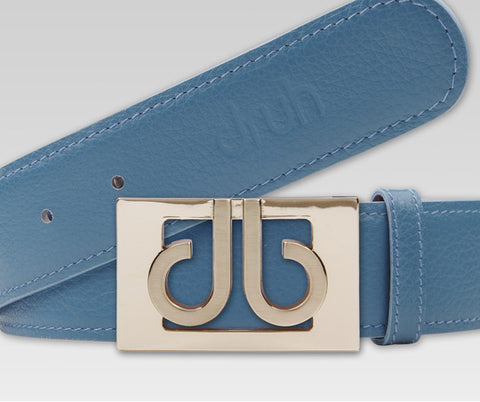 Druh Aqua Full Grain leather Strap with 3D Aqua Buckle - Druh Belts and Buckles UK