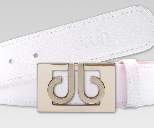 Druh White Full Grain leather Strap with 3D Buckle - Druh Belts and Buckles UK  - Mobile