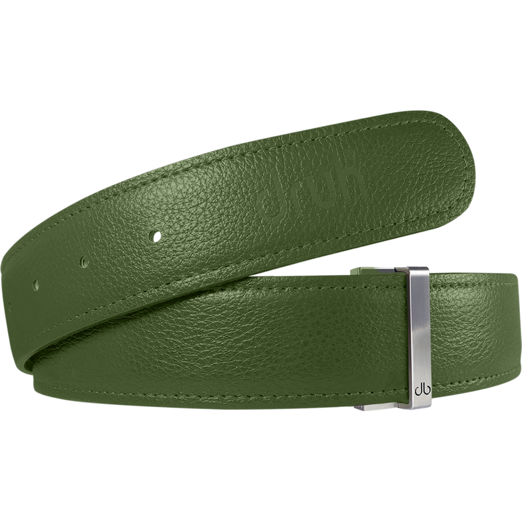 Green Full Grain Texture Leather Belt