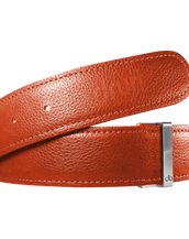 Orange Full Grain Texture Leather Belt