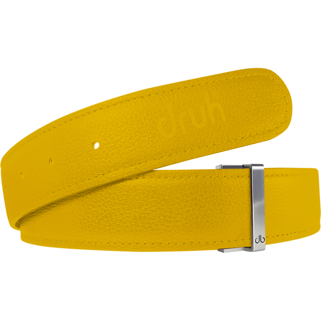Yellow Full Grain Textured Leather Belt