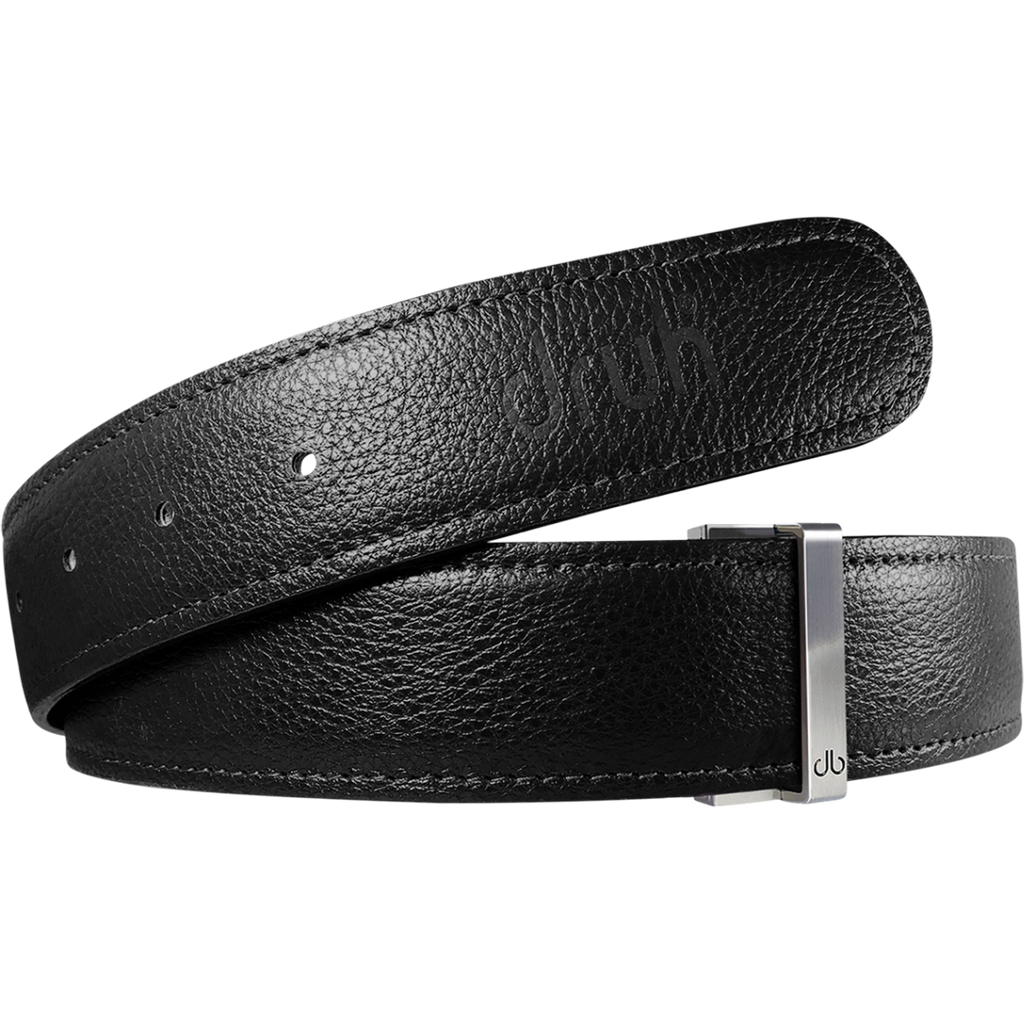 Black Full Grain Textured Leather Belt