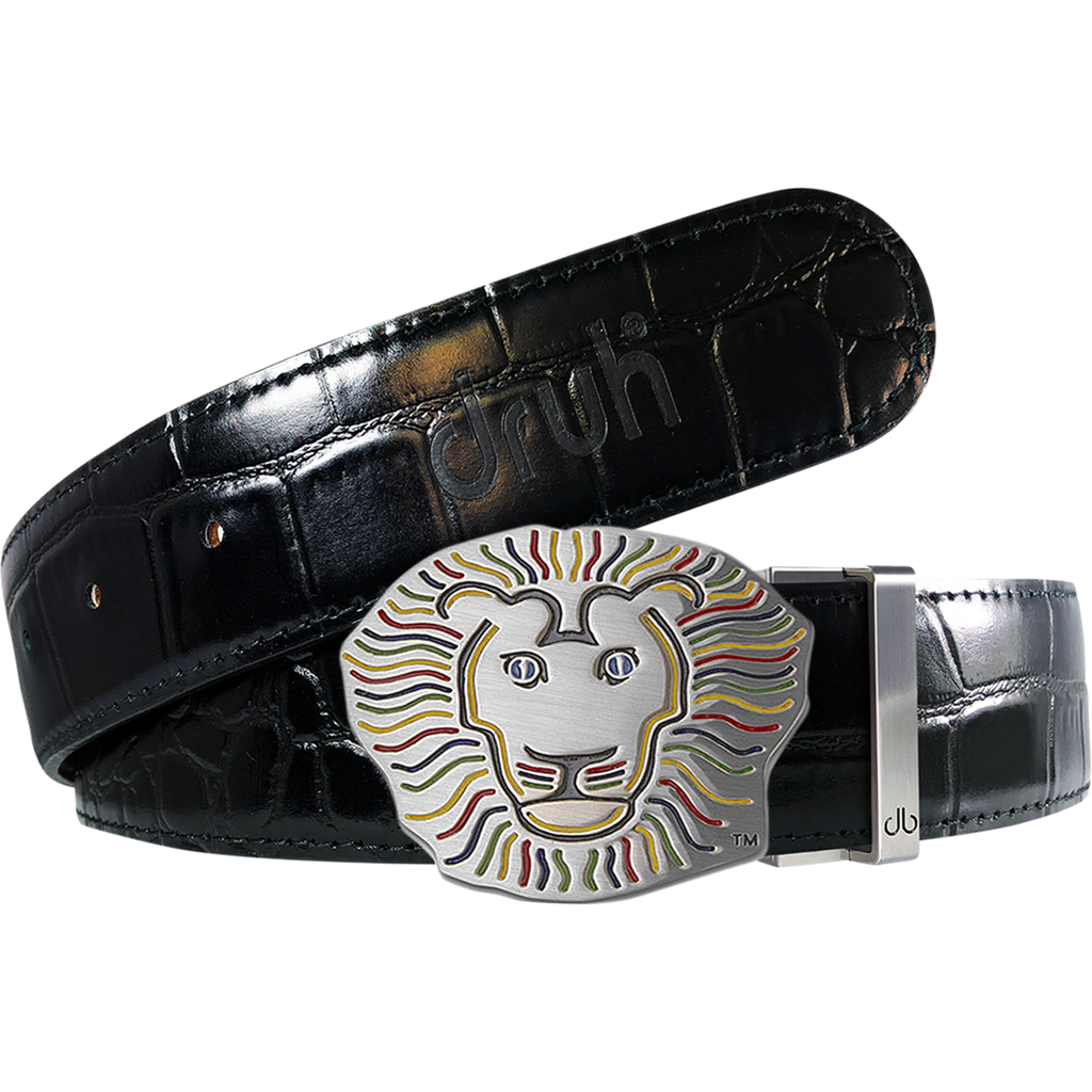 John Daly Lion Buckle and Crocodile Leather Belt in Black
