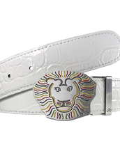 John Daly Lion Buckle and Crocodile Leather Belt in White