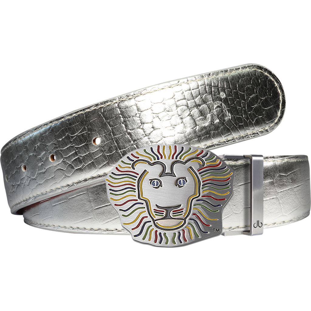 John Daly Lion Buckle and Crocodile Leather Belt in Silver