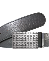 Grey Full Grain Textured Leather Belt with Black db Repeat Buckle