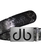 Silver and Black Snakeskin Texture Leather Belt and Black Buckle