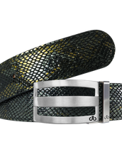 Gold and Black Snakeskin Textured Leather Belt with Silver Striped Buckle