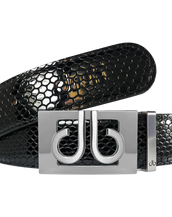 Black Snakeskin Textured Leather Belt with Silver thru Buckle
