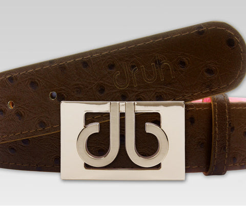 Druh Brown Ostrich Texture Leather Strap and through Gold DB Buckle - Druh Belts and Buckles UK