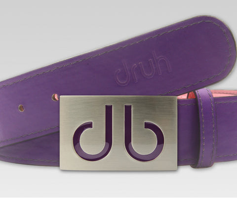 Plain Leather - Purple - Druh Belts and Buckles UK  - 1
