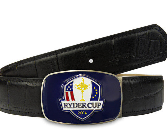 Ryder Cup limited edition belt and big buckle in black crocodile textured leather - Druh Belts and Buckles UK  - Mobile