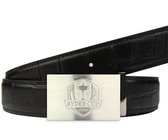 Ryder Cup limited edition belt and infill buckle in black crocodile textured leather - Druh Belts and Buckles UK  - Mobile