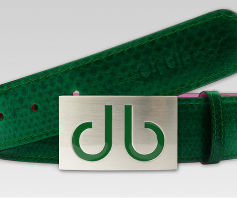 Green Snakeskin Leather Belt - Druh Belts and Buckles UK  - 1