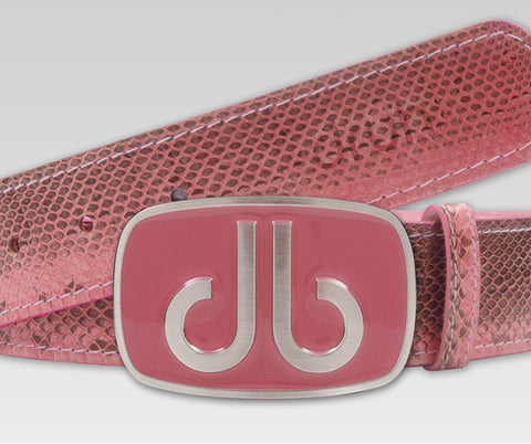Pink Snakeskin Leather Belt