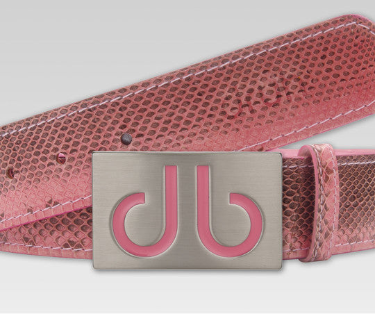 Pink Snakeskin Leather Belt - Druh Belts and Buckles UK  - 1 - Mobile