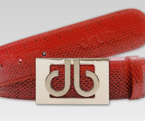 Red Snakeskin Leather Belt