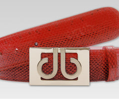 Red Snakeskin Leather Belt - Druh Belts and Buckles UK  - 2