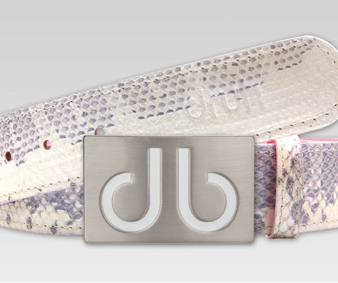 Silver Snakeskin Leather Belt - Druh Belts and Buckles UK  - 1