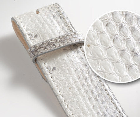 White/Black Snakeskin Leather Belt - Druh Belts and Buckles UK  - Mobile