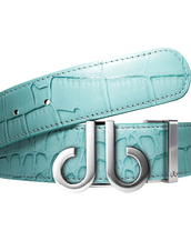 Aqua Crocodile Leather Designer Golf Belt