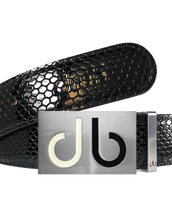 Black Snakeskin Texture Leather Belt with White and Black Two Toned Buckle
