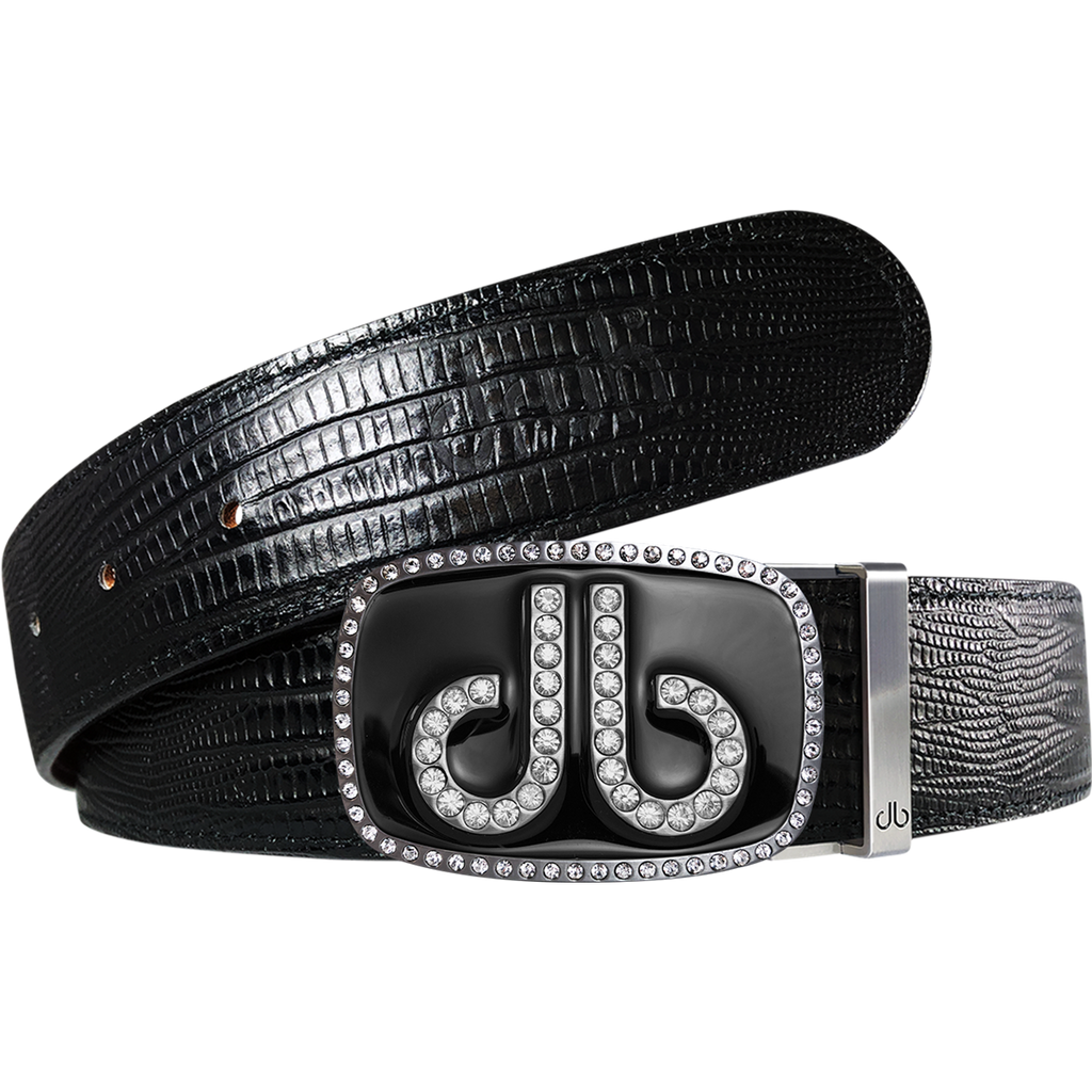 Black Lizard Texture Leather Belt with Black Diamante Buckle