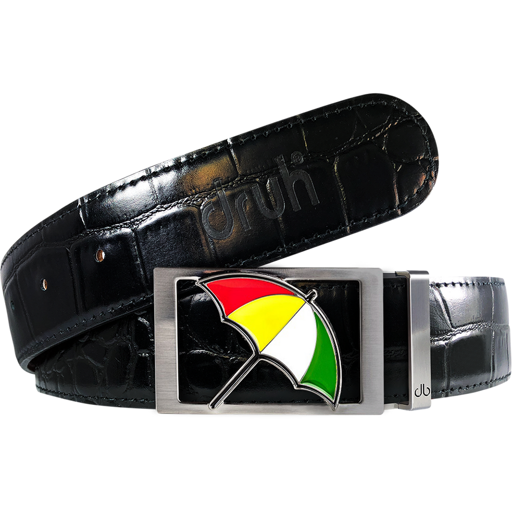 Arnold Palmer Crocodile Leather Belt in Black