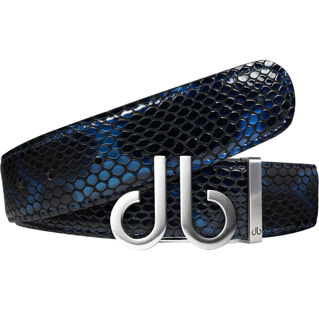 Shiny Snakeskin Texture Belt Blue & Black with Brushed Silver 'db' Icon Buckle