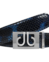 Shiny Snakeskin Texture Belt Blue & Black with Silver 'db' Thru Buckle