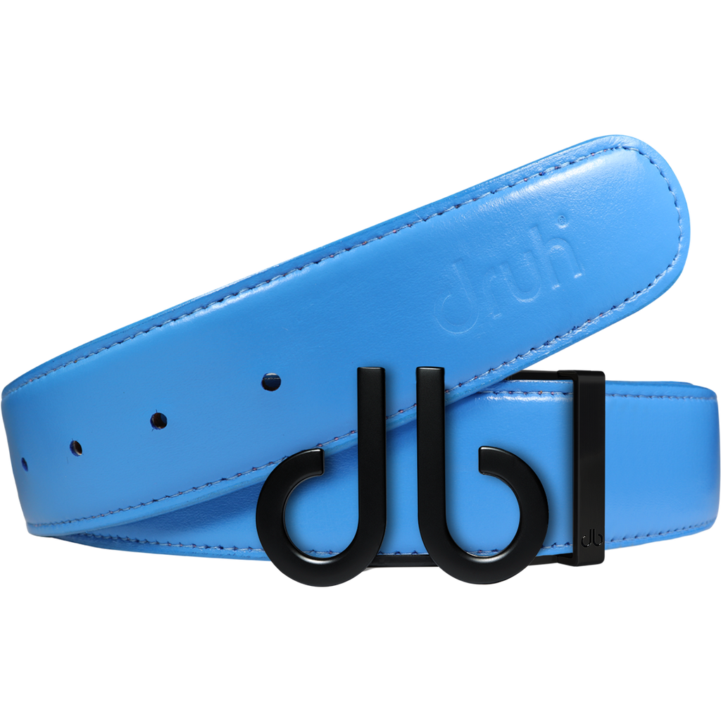 Full Grain Leather Belt in Sky Blue with Matte black 'db' Icon Buckle