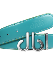 Full Grain Leather Belt in Aqua with Brushed Silver 'db' Icon Buckle