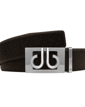 Brown Db Icon Pattern Embossed Leather Belt With Silver Db Classic Thru Buckle