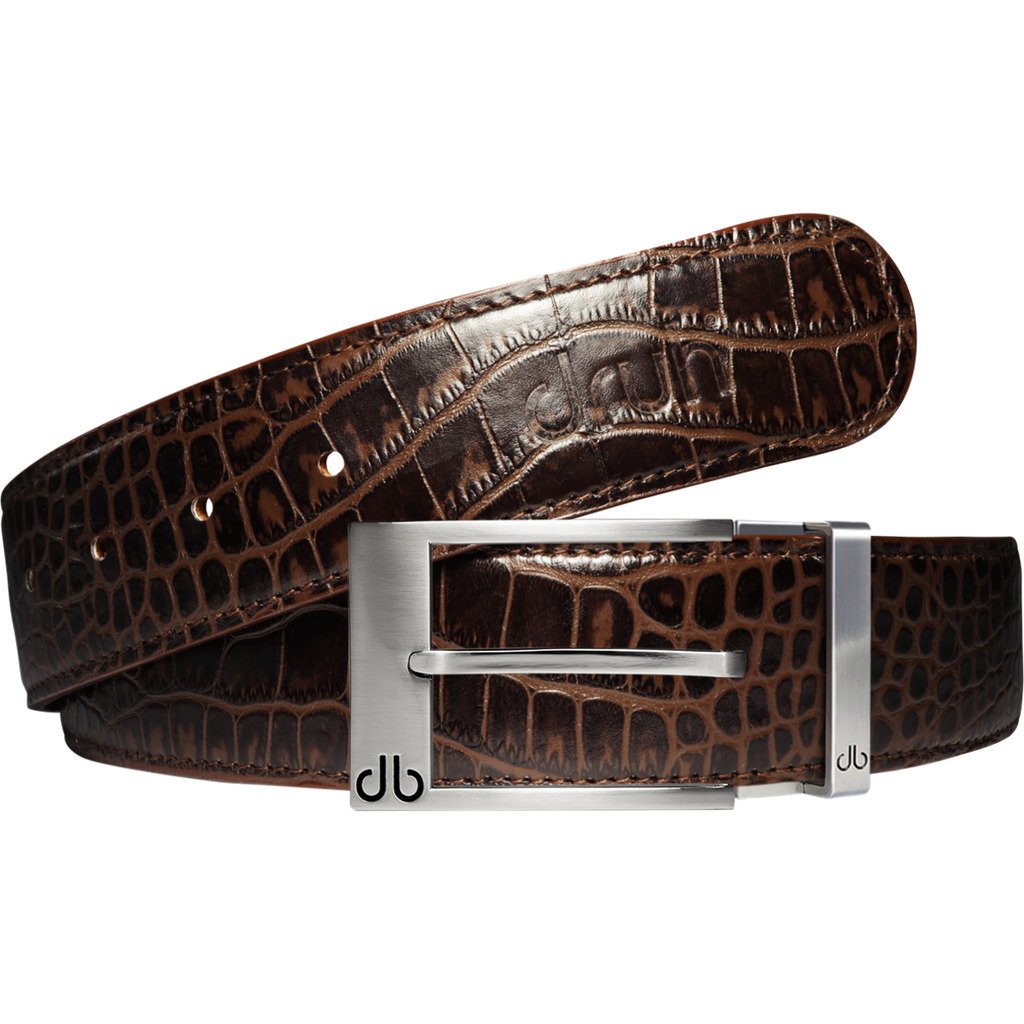 Dark Brown Crocodile Textured Leather Belt with Prong Buckle