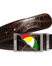 Arnold Palmer Crocodile Leather Belt in Dark Brown
