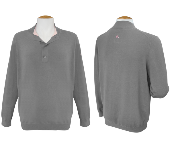 Druh Button Long Sleeve Jumper - Grey - Druh Belts and Buckles UK  - Mobile