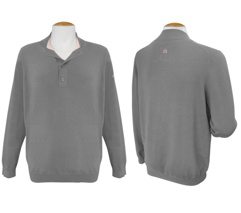 Druh Button Long Sleeve Jumper - Grey - Druh Belts and Buckles UK