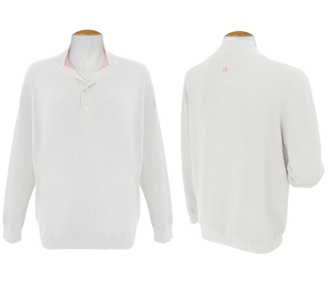 Druh Button Long Sleeve Jumper - White - Druh Belts and Buckles UK