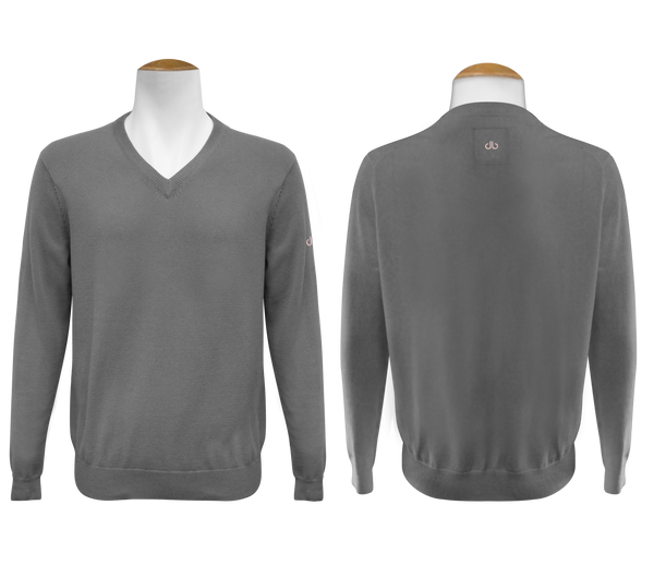 V neck Jumper - Grey - Druh Belts and Buckles UK  - Mobile