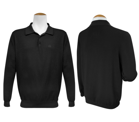 Long Sleeve Polo Jumper - Black - Druh Belts and Buckles UK