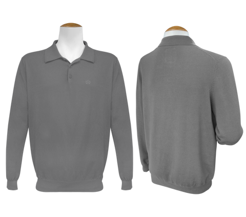 Long Sleeve Polo Jumper - Grey - Druh Belts and Buckles UK