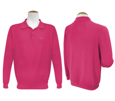 Long Sleeve Polo Jumper - Magenta - Druh Belts and Buckles UK