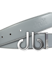 Full Grain Leather Belt in Grey with Brushed Silver 'db' Icon Buckle