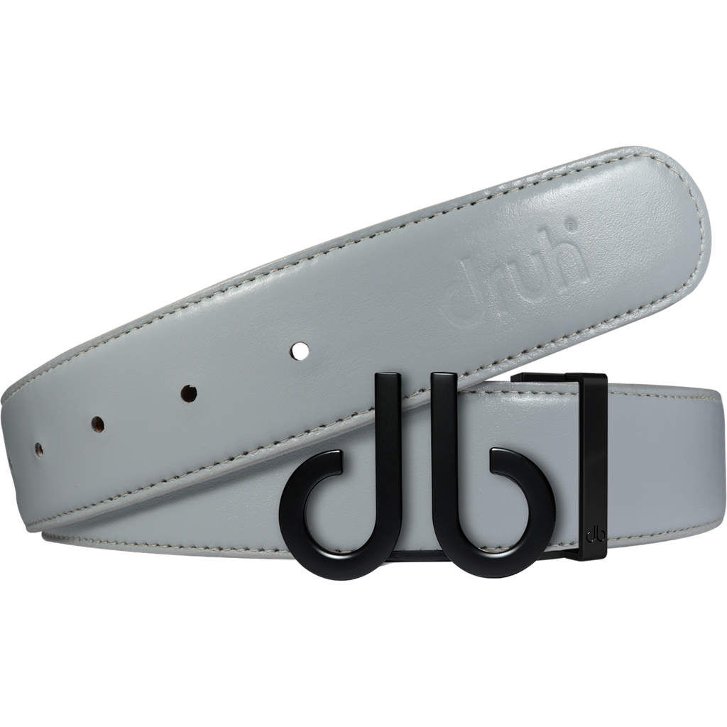 Full Grain Leather Belt in Grey with Matte black 'db' Icon Buckle