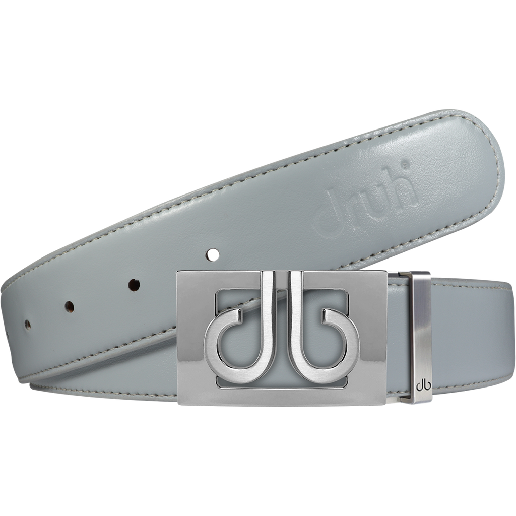 Full Grain Leather Belt in Grey with Silver 'db' Thru Buckle